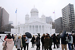 February 4, 2019, Sapporo, Japan - Visitors admire a large snow sculpture of Helsinki Cathedral displayed at the 70th annual Sapporo Snow Festival in Sapporo in Japan's nortern island of Hokkaido on Monday, February 4, 2019. The week-long snow festival started at the Odori Park in central Sapporo through February 11 and over 2.5 million people are expecting to visit the festival.   (Photo by Yoshio Tsunoda/AFLO)