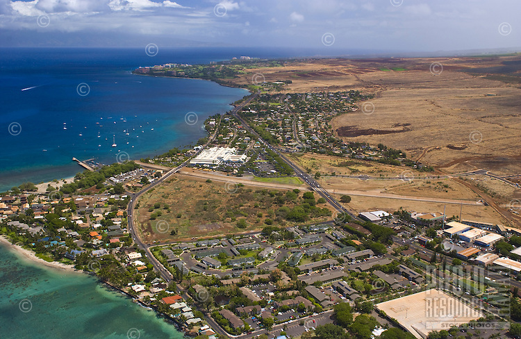 Aerial view of Lahaina town
