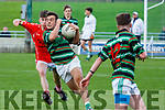 Niall McCarthy East Kerry in action against Ryan O'Neill St Brendans in the Minor Football Final at Austin Stack Park on Saturday.