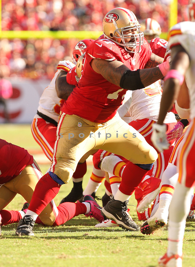San Francisco 49ers Mike Iupati (77) during a game against the Kansas City Chiefs on October 5, 2014 at Levi's Stadium in Santa Clara, CA. the 49ers beat the Chiefs 22-17.