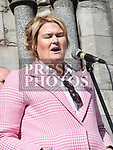 Joanne Byrne speaking at the rally against voilence in the town. Photo:Colin Bell/pressphotos.ie