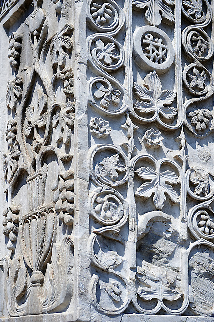 Detail of sixth Century Pillars From Acre with oriental bas releif geometric designs. St Mark's Basilica, Venice. Looted from Constantinople after the Fourth Crusade (1202-1204)