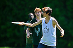 25 May 2014: Vermont High Schools compete in the second day of the VYUL State Ultimate Disk Championships at the Tree Farm Recreational Facility in Essex Junction, Vermont. Mandatory Credit: Ed Wolfstein Photo