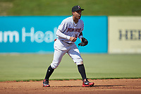 Kannapolis Intimidators shortstop Luis Curbelo (16) on defense against the Greensboro Grasshoppers at Kannapolis Intimidators Stadium on August 5, 2018 in Kannapolis, North Carolina. The Intimidators defeated the Grasshoppers 9-0 in game two of a double-header.  (Brian Westerholt/Four Seam Images)