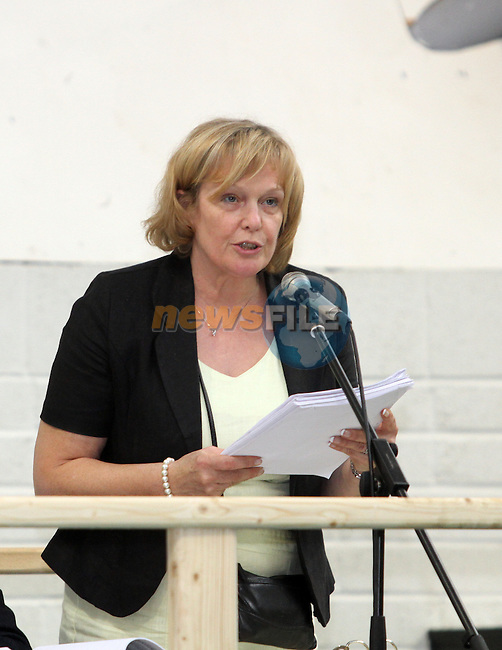 Returning Officer Mary O'Malley announces the result at Fiscal Treaty referendum votes are counted and sorted at the Meath West Count Centre in Trim...(Photo Jenny Matthews/www.newsfile.ie)