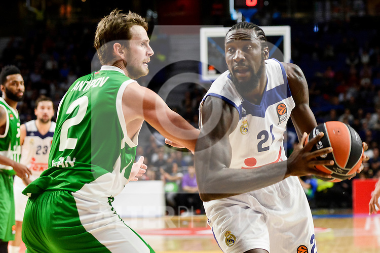 Real Madrid's player Othello Hunter and Unics Kazan's player Pavel Antipov during match of Turkish Airlines Euroleague at Barclaycard Center in Madrid. November 24, Spain. 2016. (ALTERPHOTOS/BorjaB.Hojas)