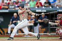 Virginia Cavaliers designated hitter Robbie Coman (8) follows through on his swing against the Arkansas Razorbacks in Game 1 of the NCAA College World Series on June 13, 2015 at TD Ameritrade Park in Omaha, Nebraska. Virginia defeated Arkansas 5-3. (Andrew Woolley/Four Seam Images)