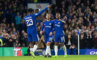 Eden Hazard & Charly Musonda of Chelsea congratulate Michy Batshuayi of Chelsea on his second goal during the Carabao Cup (Football League cup) 23rd round match between Chelsea and Nottingham Forest at Stamford Bridge, London, England on 20 September 2017. Photo by Andy Rowland.