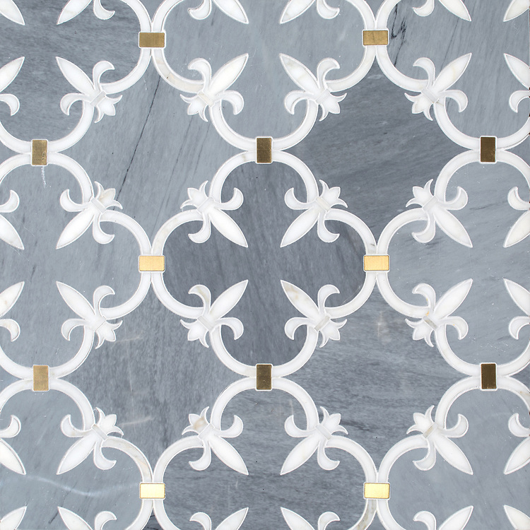 Fleur de Lys, a waterjet stone mosaic, shown in polished Bardiglio, Calacatta Gold, and Brass, is part of the Jardins Français collection by Caroline Beaupere for New Ravenna.
