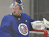 Jaroslav Halak #41, New York Islanders goalie, practices during team training camp at Northwell Health Ice Center in East Meadow on Friday, Sept. 15, 2017.