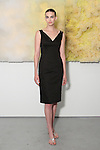 Kate poses in a black cotton spaghetti strap slim dress from the Barbara TFank Spring Summer 2016 collection, at a fashion show presentation in the Leila Heller Gallery during New York Fashion Week Spring Summer 2017, on September 12, 2016.