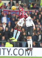 Derby County's Richard Keogh jumps with Aston Villa's Tammy Abraham <br /> <br /> Photographer Mick Walker/CameraSport<br /> <br /> The EFL Sky Bet Championship - Derby County v Aston Villa - Saturday 10th November 2018 - Pride Park - Derby<br /> <br /> World Copyright &copy; 2018 CameraSport. All rights reserved. 43 Linden Ave. Countesthorpe. Leicester. England. LE8 5PG - Tel: +44 (0) 116 277 4147 - admin@camerasport.com - www.camerasport.com