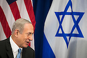 "(L to R) Prime Minister of Israel Benjamin Netanyahu speaks to United States President Barack Obama meet during a bilateral meeting at the Lotte New York Palace Hotel, September 21, 2016 in New York City. Last week, Israel and the United States agreed to a $38 billion, 10-year aid package for Israel. Obama is expected to discuss the need for a ""two-state solution"" for the Israeli-Palestinian conflict. <br /> Credit: Drew Angerer / Pool via CNP"