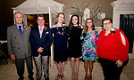 WATERTOWN, CT-052218JS28--Guest speaker Frank Manganaro; with scholarship recipients Anthony Mirabilio-Mulhall; Abigail Monroe; Jenna Madigan; Julia Mecca and chapter president Dr. Joanne D'Angelo, at the 96th annual scholarship awards for graduating seniors of Italian-American heritage sponsored by the Waterbury Chapter of UNICO National held at the Grand Oak Villa in Watertown. <br /> Jim Shannon Republican American