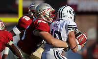 TALLAHASSEE, FL 9/18/10-FSU-BYU FB10 CH-Florida State's Bjoern Werner tackles Brigham Young's JJ Di Luigi  during second half action Saturday at Doak Campbell Stadium in Tallahassee. The Seminoles beat the Cougars 34-10..COLIN HACKLEY PHOTO