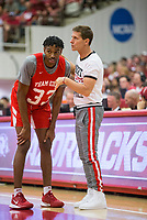 NWA Democrat-Gazette/BEN GOFF @NWABENGOFF<br /> Jimmy Whitt, Arkansas guard, talks to Eric Musselman, Arkansas head coach, in the first half Saturday, Oct. 5, 2019, during the annual Arkansas Red-White Game at Barnhill Arena in Fayetteville.
