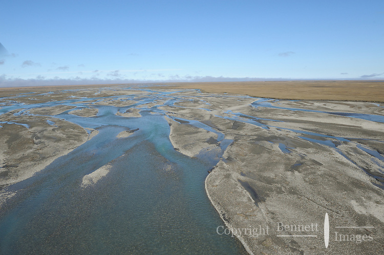 The Hulahula River breaks into multiple channels as it flows through the Arctic Coastal Plain in Alaska's Arctic National Wildlife Refuge.