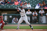 Wisconsin Timber Rattlers third baseman Sthervin Matos (9) at bat during a game against the Peoria Chiefs on August 21, 2015 at Dozer Park in Peoria, Illinois.  Wisconsin defeated Peoria 2-1.  (Mike Janes/Four Seam Images)