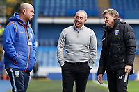 Swansea City manager Steve Cooper (C) speaks to Head of Performance Andy Kalinins (R) of Sheffield United prior to the Sky Bet Championship match between Sheffield Wednesday and Swansea City at Hillsborough Stadium, Sheffield, England, UK. Saturday 09 November 2019