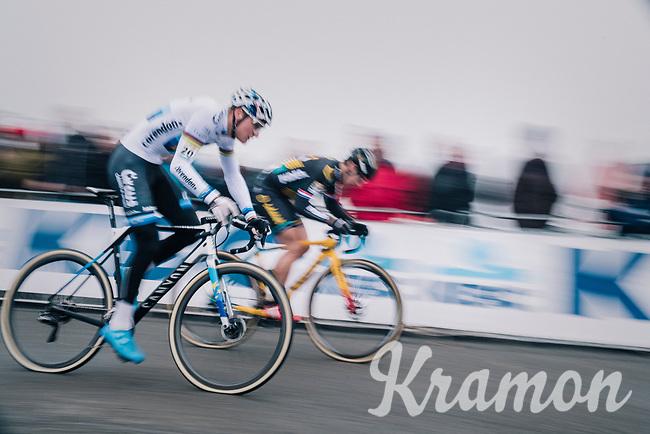 European CX Champion Mathieu van der Poel (NED/Corendon-Circus) speeding off at the race start<br /> <br /> CX World Cup Koksijde 2018