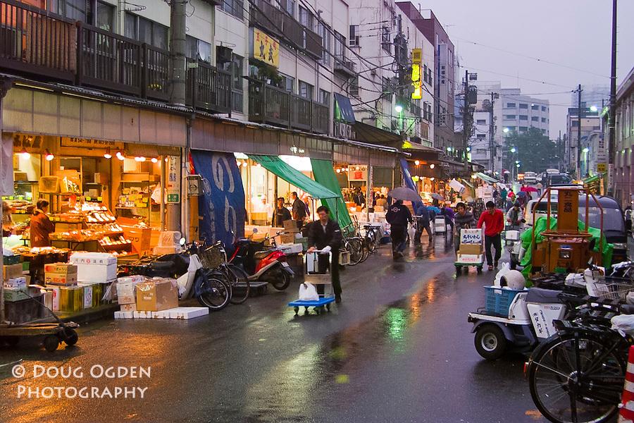 Street Markets outside the Tsukiji fish market, Tokyo Japan