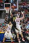 Wisconsin Badgers center Frank Kaminsky (44) defends against Baylor Bears forward Cory Jefferson (34) during the fourth-round game in the NCAA college basketball tournament Thursday, March 27, 2014 in Anaheim, California. The Badgers won 69-52. (Photo by David Stluka)