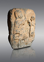 Hittite monumental relief sculpture. Late Hittite Period - 900-700 BC. Adana Archaeology Museum, Turkey. Against a grey background