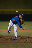 AZL Cubs relief pitcher Riley McCauley (64) follows through on his delivery during an Arizona League game against the AZL Brewers at Sloan Park on June 29, 2018 in Mesa, Arizona. The AZL Cubs 1 defeated the AZL Brewers 7-1. (Zachary Lucy/Four Seam Images)