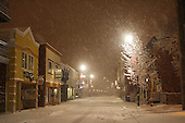 Heavy nigh time snowfall in downtown Joliette ,Quebec