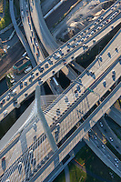 aerial view of traffic near Zakim Bridge,  Boston, MA