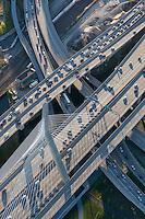 aerial view of traffic near Zakim Bridge,  Boston, MA