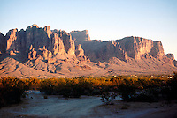 SEDIMENTARY ROCK FORMATIONS WITH WIND &amp; WATER EROSION<br /> Sonoran Desert Scene<br /> Sandstone &amp; Limestone buttes near Sedona, AZ