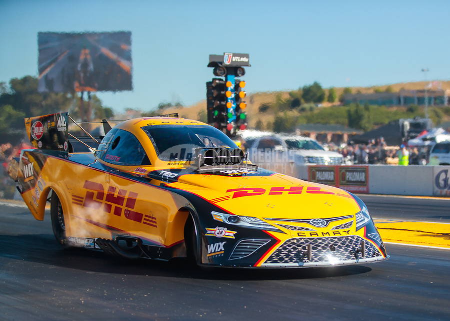 Jul 26, 2019; Sonoma, CA, USA; NHRA funny car driver J.R. Todd during qualifying for the Sonoma Nationals at Sonoma Raceway. Mandatory Credit: Mark J. Rebilas-USA TODAY Sports