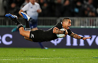 Aaron Smith scores during the Bledisloe Cup Rugby match between the New Zealand All Blacks and Australia Wallabies at Eden Park in Auckland, New Zealand on Saturday, 17 August 2019. Photo: Simon Watts / lintottphoto.co.nz