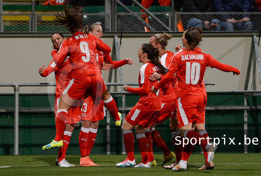 20160302 – DEN HAAG ,  NEDERLAND : Swiss team pictured celebrating their quick 1-0 lead during the Olympic Qualification Tournament  soccer game between the women teams of Switzerland and The Netherlands, The first game for both teams in the Olympic Qualification Tournament for the Olympic games in Rio de Janeiro - Brasil, Wednesday 2 March 2016 at Kyocera Stadium in The Hague , Netherlands  PHOTO DAVID CATRY