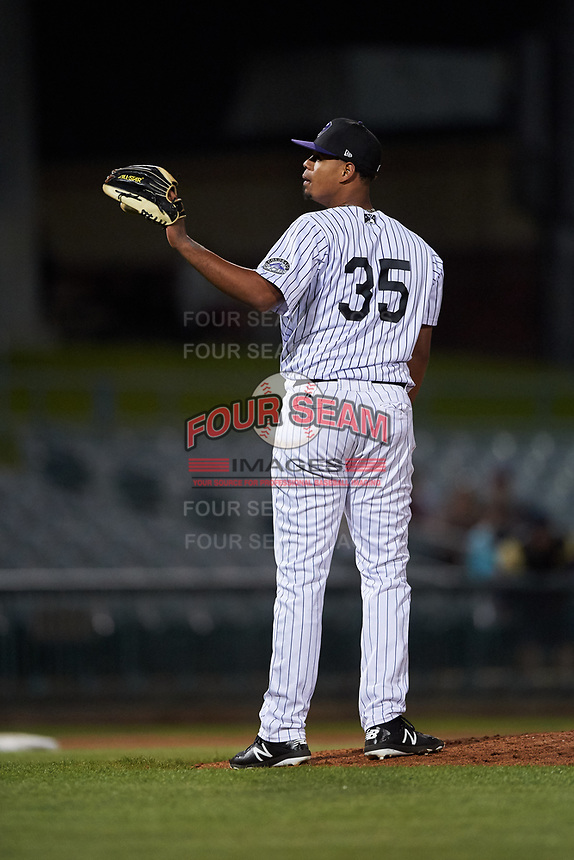 Lancaster JetHawks relief pitcher Salvador Justo (35) during a California League game against the Visalia Rawhide at The Hangar on May 17, 2018 in Lancaster, California. Lancaster defeated Visalia 11-9. (Zachary Lucy/Four Seam Images)