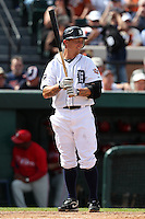 Detroit Tigers third baseman Brandon Inge #15 during a Spring Training game vs the Philadelphia Phillies at Joker Marchant Stadium in Lakeland, Florida;  March 6, 2011.  Detroit defeated Philadelphia 2-1.  Photo By Mike Janes/Four Seam Images