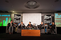 Panel discussion on the 3rd LA project at the Line Hotel in Los Angeles, Calif. on Wednesday, Feb. 18, 2015 hosted by Christopher Hawthorne. <br /> <br /> Seated from left to right: Christopher Hawthorne, Christopher Pak, Jan Lin, Manuel Pastor and Kilema Moses. <br /> <br /> (Photos by Susanica Tam/For Occidental College)