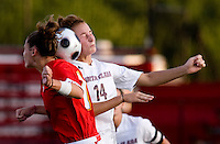 Santa Clara midfielder (14) Lindsey Johnson goes up for a header with Maryland midfielder (19) Becky Kaplan.  Maryland defeated Santa Clara, 1-0, at Ludwig Field in College Park Maryland.