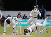 June 11th 2017, Trafalgar Road Ground, Southport, England; Specsavers County Championship Division One; Day Three; Lancashire versus Middlesex; Jordan Clark of Lancashire survives an attempted stumping by Middlesex keeper John Simpson; Lancashire resumed at 123-4 in reply to Middlesex's first innings score of 180 all out