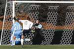 07 December 2008: Notre Dame's Kerri Hanks (2) beats North Carolina's Rachel Givan (16) and Ashlyn Harris (18) and scores a goal 17 seconds into the game. The Notre Dame Fighting Irish played the University of North Carolina Tar Heels at WakeMed Soccer Park in Cary, NC in the championship game of the 2008 NCAA Division I Women's College Cup.