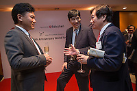 Hiroshi Mikitani, Chairman of the board of Tokyo Philharmonic Orchestra, left, and Haruhisa Takeuchi, Ambassador of Japan to Singapore, centre, attend the reception cocktail after the 100th Anniversary concert at the Esplanade Hall on 20 March 2014 in Singapore. Photo by Jerome Favre / studioEAST
