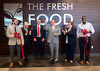 Celebrating a ribbon cutting for The Fresh Food Co., one of MSU's newest dining options, are (l-r) Student Association President JoJo Dodd; Assistant Vice President for Student Affairs Bill Broyles, Aramark Regional Vice President Chris Harr, MSU President Mark E. Keenum, Vice President for Student Affairs Regina Hyatt, and Talla Cisse, a senior political science major from Madison, who also serves as president of the Residence Hall Association.<br />
