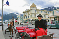 Michelle Dockter, Skagway, Alaska, horse and carriage tour in historic gold rush town of Skagway, Alaska, end of Alaska's inside passage Lynn Canal.