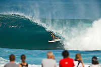 PIPELINE, Oahu/Hawaii (Wednesday, December 8, 2010) - Dusty Payne (HAW).   Day 1 of the Billabong Pipe Masters in Memory of Andy Irons, the third and final stop on the Vans Triple Crown of Surfing (an ASP Specialty Series) got underway today, with Rounds 1 and 2 completed in challenging six foot (2 metre) waves at the Banzai Pipeline on Oahu's North Shore.. .The final stop on the 2010 ASP World Tour, the Billabong Pipe Masters in Memory of Andy Irons utilized the ASP's Dual Heat Format today, overlapping the man-on-man matches to take advantage of the swell on offer. With a smattering of Pipeline specialists lining the field, the world's best surfers campaigned against one another and the elements to ensure their position amongst the world's best surfers for 2011.. .Dusty Payne (HAW), 21, 2010 ASP World Tour rookie, currently sits at No. 36 on the ASP World Rankings in need of at least an Equal 9th to vault himself into a requalification spot for 2011..Payne faces two-time ASP World Champion Mick Fanning (AUS), 29, in Round 3 of the Billabong Pipe Masters in Memory of Andy Irons.. .Joel Parkinson (AUS), 29, in his first ASP World Tour event back since injury, posted a convincing Round 2 victory over wildcard Heitor Alves (BRA), 28, in trying conditions out at Pipeline.. .Photo: joliphotos.com