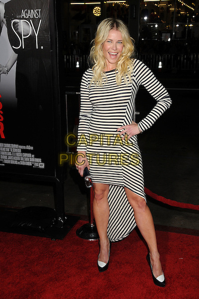 "Chelsea Handler.""This Means War"" Los Angeles Premiere held at Grauman's Chinese Theatre, Hollywood, California, USA..February 8th, 2012.full length dress hand on hip shoes clutch bag white blue black striped stripes .CAP/ADM/BP.©Byron Purvis/AdMedia/Capital Pictures."