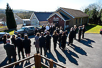 Tuesday 11 March 2014<br /> Pictured: Mourners outside at the funeral<br /> Re: Funeral of Baby Eliza Mae takes place in Pontyberem, Wales UK