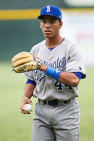 Marten Gasparini (44) of the Burlington Royals warms up in the outfield prior to the game against the Pulaski Mariners at Calfee Park on June 20, 2014 in Pulaski, Virginia.  The Mariners defeated the Royals 6-4. (Brian Westerholt/Four Seam Images)