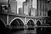 Minneapolis skyline and Central Avenue bridge over the Mississippi River.