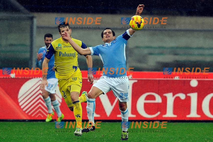 Nicoals Sebastien Fray Chievo, Cristian Ledesma Lazio <br /> Verona 02-02-2014 Stadio Bentegodi. Football Calcio Serie A 2013/2014 Chievo Verona - Lazio foto Insidefoto